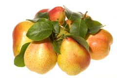 Pears with green leafs Stock Image