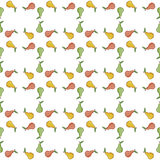 Pears green, yellow, red vector. Seamless pattern background with colorful fruits. Stock Images