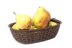 Pears. Pears harvest. Fruit background. Fresh organic pears on old sacking. Pear autumn harvest. Juicy flavorful pears of rustic b. Ackground. Free space for stock images
