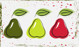 Pears. Image grushv contour style, in three different colors Royalty Free Stock Image