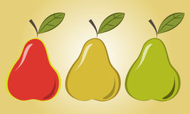 Pears. Image pears in three different colors Stock Image