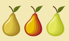 Pears. Image pears in three different colors with transitions from one color to another Royalty Free Stock Photos