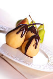 Pears In Chocolate Royalty Free Stock Photo