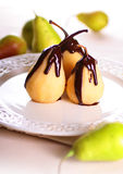 Pears In Chocolate Stock Photography