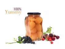 Pears in jar  with fruits isolated on white Stock Photo