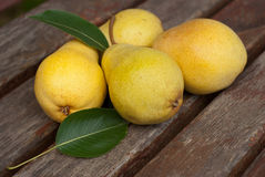 Pears. Juicy pear and pear leaves Royalty Free Stock Photography