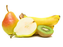 Pears, kiwi and bananas Royalty Free Stock Images