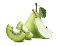Pears kiwi quarter pieces composition isolated on white backgrou Royalty Free Stock Photo