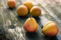 Fresh garden pears on old wooden shabby background stock image