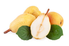 Pears with leaves Royalty Free Stock Photos