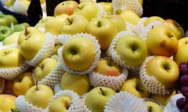 Pears in the market. Chinese pears in the market. Chinese pear in foam on shelf in supermarket royalty free stock photo