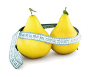 Pears with meter tape  on white background. 3d conceptua Stock Images