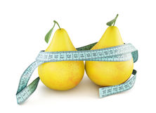 Pears with meter tape  on white background. 3d. Royalty Free Stock Images
