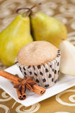 Pears and muffin Stock Image