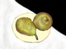 Pears painting. Still life painting of 2 pears on a plate Royalty Free Stock Images