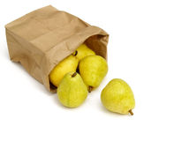 Pears in a paper bag Stock Images