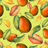Pears pattern on yellow background Stock Image