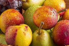 Pears, peaches and grapes Stock Photo