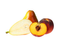Pears and peaches Stock Photos