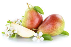 Pears pear fresh fruit fruits isolated on white Royalty Free Stock Photography