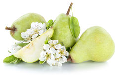 Pears pear green fresh fruit fruits isolated on white Stock Photography