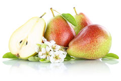 Pears pear slice fresh fruit fruits isolated on white Stock Photos