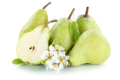 Pears pear slice fruit fruits green isolated on white Royalty Free Stock Photo