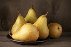 Pears in plate Stock Photo