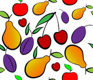 Pears, plums and cherry seamless pattern. Stock Photo