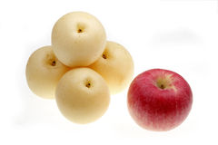 Pears and red apple Royalty Free Stock Photo