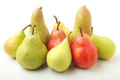 Pears red and green on white background Stock Photo