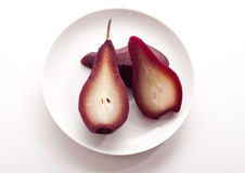 Pears in red wine Stock Photo