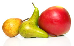 Pears and ripe red apple 2 Royalty Free Stock Images