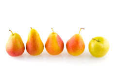 Pears and ripe red apple. Stock Photography