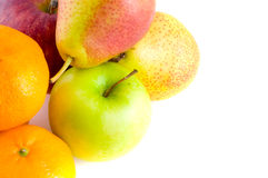 Pears and ripe red apple. Royalty Free Stock Photography