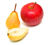 Pears and ripe red apple Stock Photos