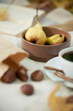 Pears, roasted chestnuts Stock Images
