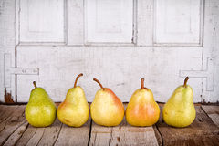 Pears in a row Stock Images