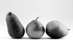 Pears in a Row in Black and White Royalty Free Stock Image