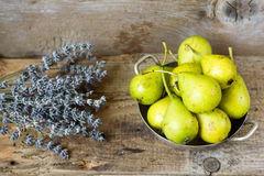 Pears. On rustic wooden background Stock Images