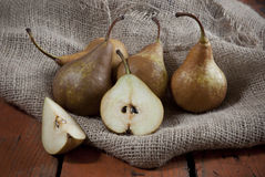 Pears on sackcloth Stock Photo