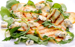 Pears salad. Salad mix with grilled pears, arugula and blue cheese Royalty Free Stock Photos
