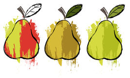 Pears. Samples drawings pears, made in grunge style Royalty Free Stock Photography