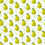 Pears seamless pattern. Seamless pattern design with realistic pears Stock Photos