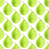 Pears. Seamless pattern with fruits. Hand-drawn background. Vector illustration. Royalty Free Stock Photography