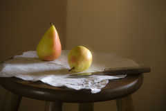 Pears on serviette. Stock Image