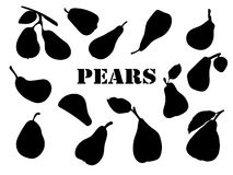 Pears. Set of hand-painted chopped, ripe pears for your design. Flat silhouettes of fruits. Isolates. Black elements for cards, packaging, paper, typography Royalty Free Stock Images
