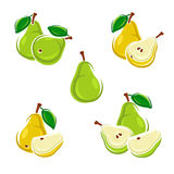 Pears set. Vector Stock Image