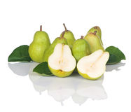 Pears Seven With One Sliced Royalty Free Stock Photos