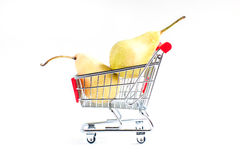 Pears in shopping cart Stock Photo